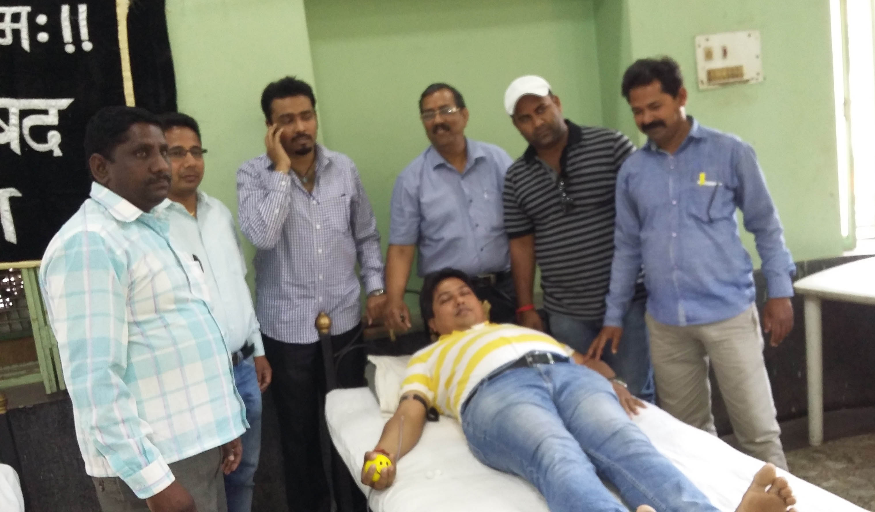 Blood donate by Director of gurukul coaching and students.